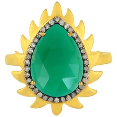 Meghna Jewels Flame Ring Green Onyx and Diamonds