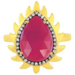 Meghna Jewels Flame Rubelite Diamond Ring