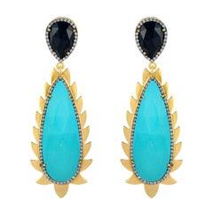 Meghna Jewels Flame Turquoise Black Onyx Diamonds Drop Earrings