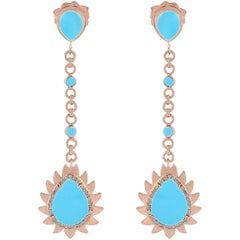 Meghna Jewels Flame Turquoise Diamonds Earrings