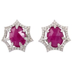 Meghna Jewels Inverted Pave Diamond Arches Ruby Earrings