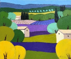 Lavender Patchwork, Painting, Oil on Canvas