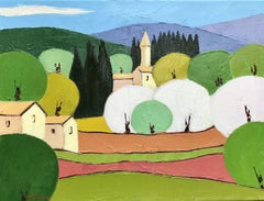 Provence Village, Painting, Oil on Canvas