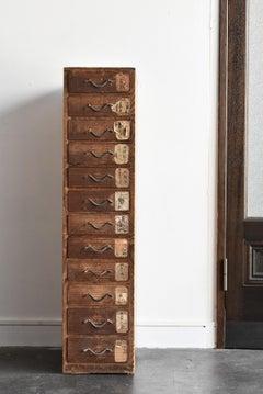 Meiji era (1893) Japanese antique drawer / wabisabi tansu chest/Old store drawer