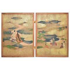 Meiji Era Japanese Two Panel Hand Painted Wood Table Screen Tale of Genji