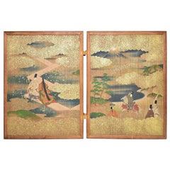 Meiji Era Japanese Two Panel Hand Painted Wood Table Screen Tale of Genji