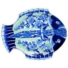 Meiji Imari Celadon Fish Plate, by Fukagawa III