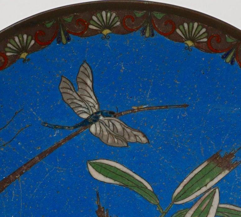 Cloissoné Meiji Japanese Cloisonne Bronze Plate For Sale