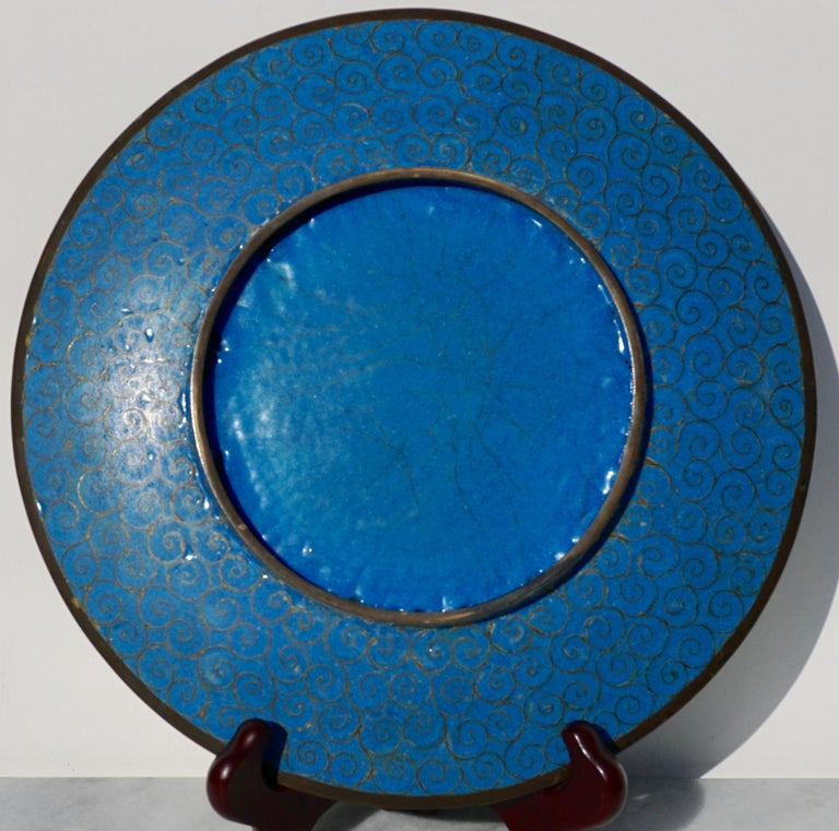 Meiji Japanese Cloisonne Bronze Plate In Good Condition For Sale In Dallas, TX