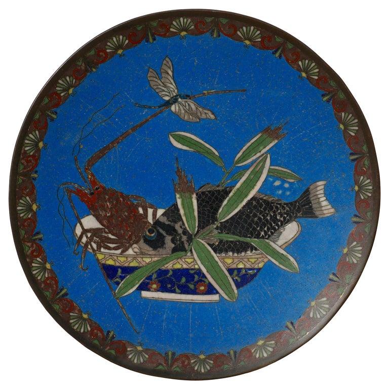 Meiji Japanese Cloisonne Bronze Plate For Sale