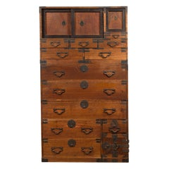 Meiji Period 19th Century Japanese Tansu Chest with Sliding Panels and Drawers
