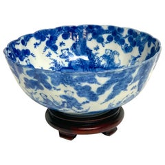 Meiji Period Blue and White Imari Scalloped Bowl with Stand