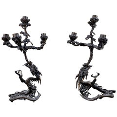 Meiji Period Bronze Dragon Form Candelabrum a Pair