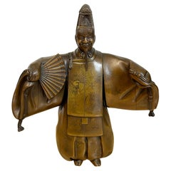 Meiji Period Bronze Figure of a Noh, with Mask