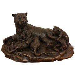 Meiji Period Bronze Grouping of Tigers