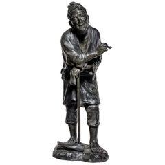 Meiji Period Bronze Sculpture of a Farmer