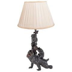 Meiji Period Bronze Study of Monkeys Playing / Lamp