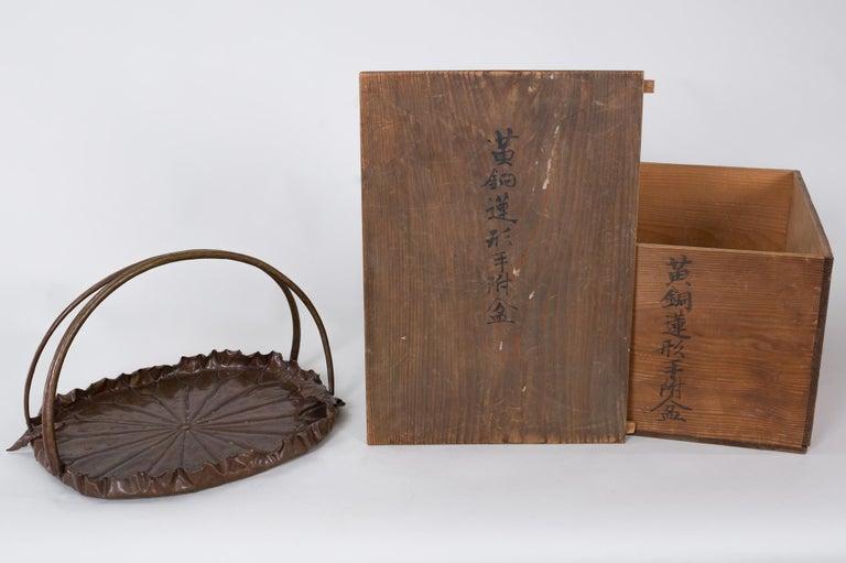 Meiji Period Copper Lotus Leaf Tray For Sale 3