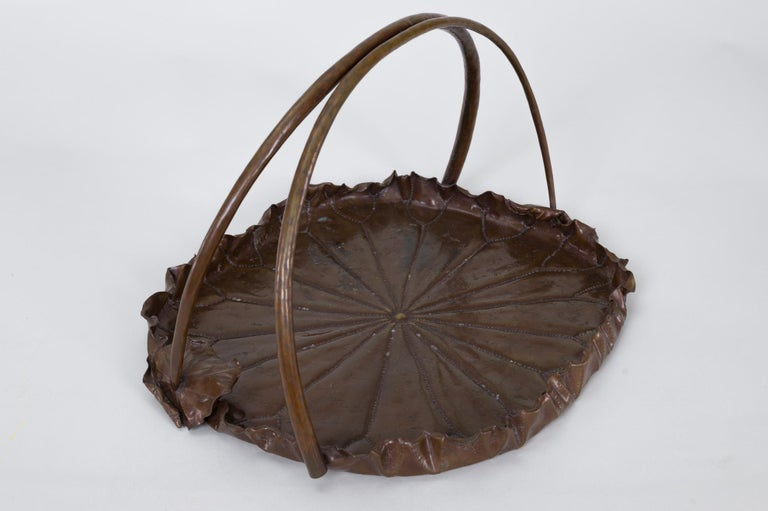 Japanese Meiji Period Copper Lotus Leaf Tray For Sale