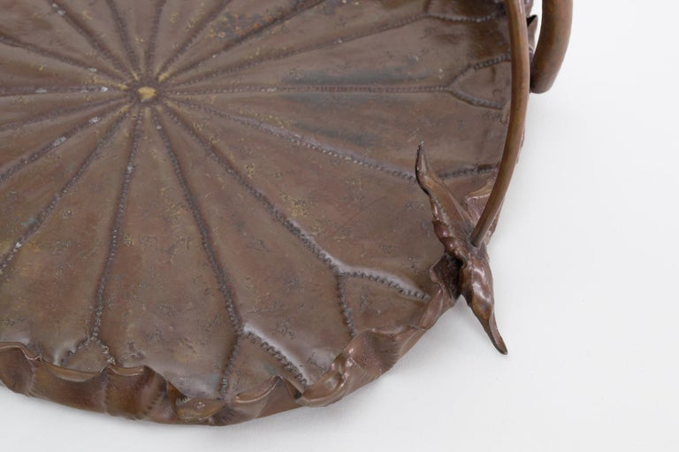 Hand-Crafted Meiji Period Copper Lotus Leaf Tray For Sale