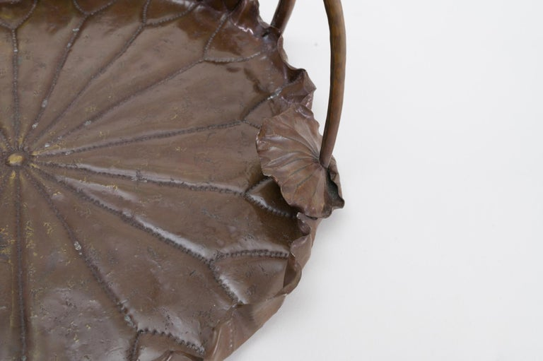 Meiji Period Copper Lotus Leaf Tray In Good Condition For Sale In Hudson, NY