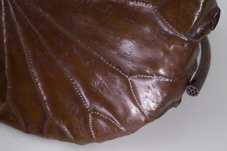 Bronze Meiji Period Copper Lotus Leaf Tray For Sale