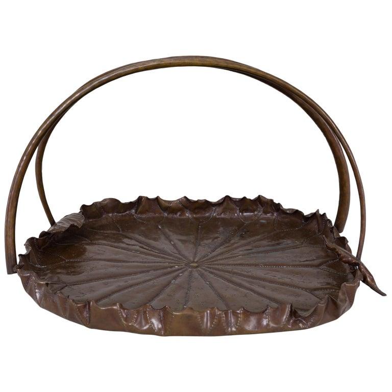 Meiji Period Copper Lotus Leaf Tray For Sale