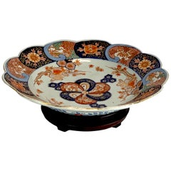 Meiji Period Imari Shallow Bowl and Stand