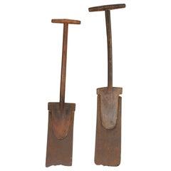 Meiji Period Iron and Wood Spades, Japan