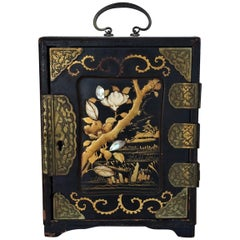 Meiji Period Ivory and Mother-of-Pearl Inlaid lacquer box, Japan 19th Century