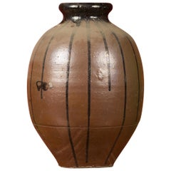 Meiji Period Japanese 19th Century Vase with Brown and Black Patina