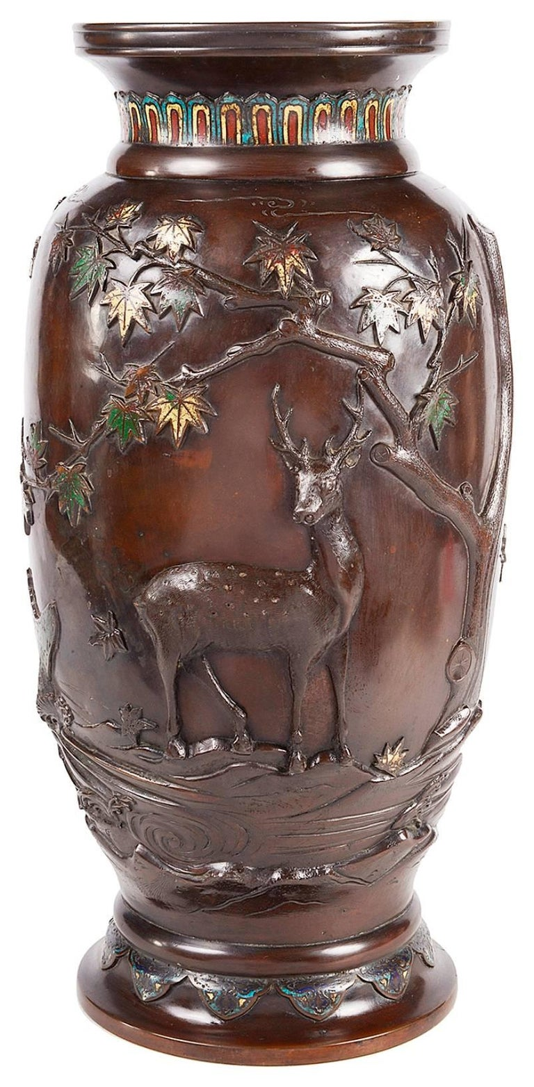 Enameled Meiji Period Japanese Bronze Enamel Vase For Sale