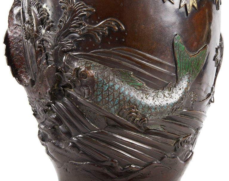Meiji Period Japanese Bronze Enamel Vase In Excellent Condition For Sale In Brighton, Sussex