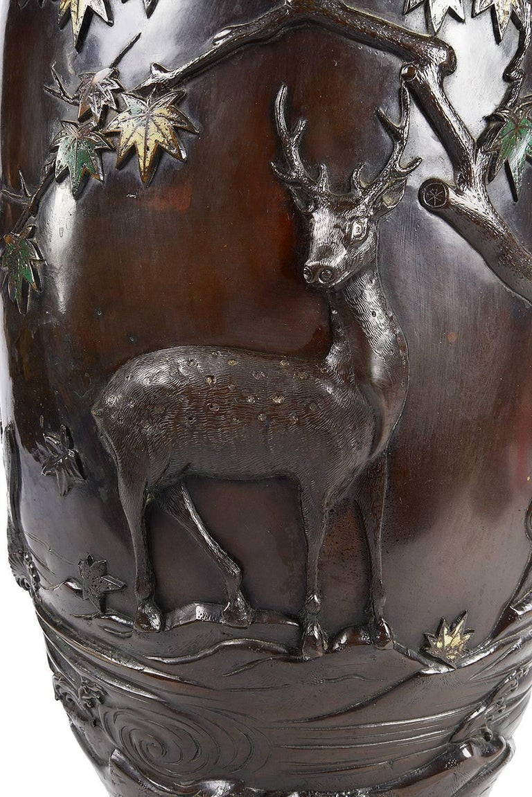 19th Century Meiji Period Japanese Bronze Enamel Vase For Sale