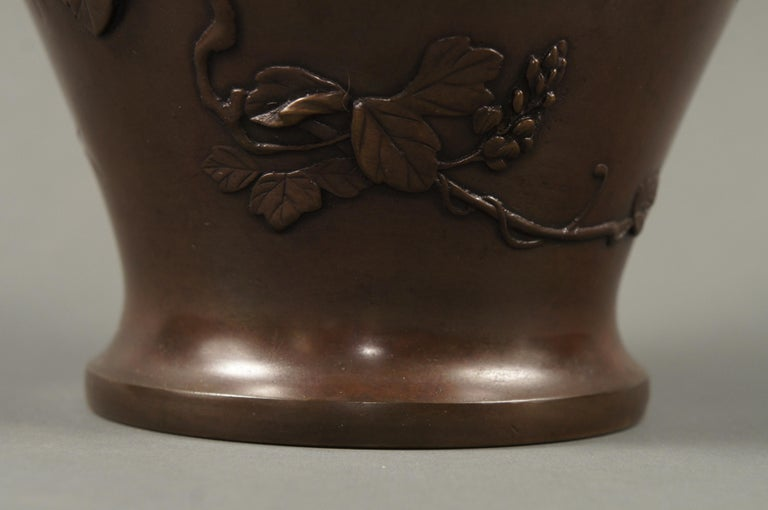 Meiji Period Japanese Bronze Vase with Grasses and Quail Design In Good Condition For Sale In Hudson, NY
