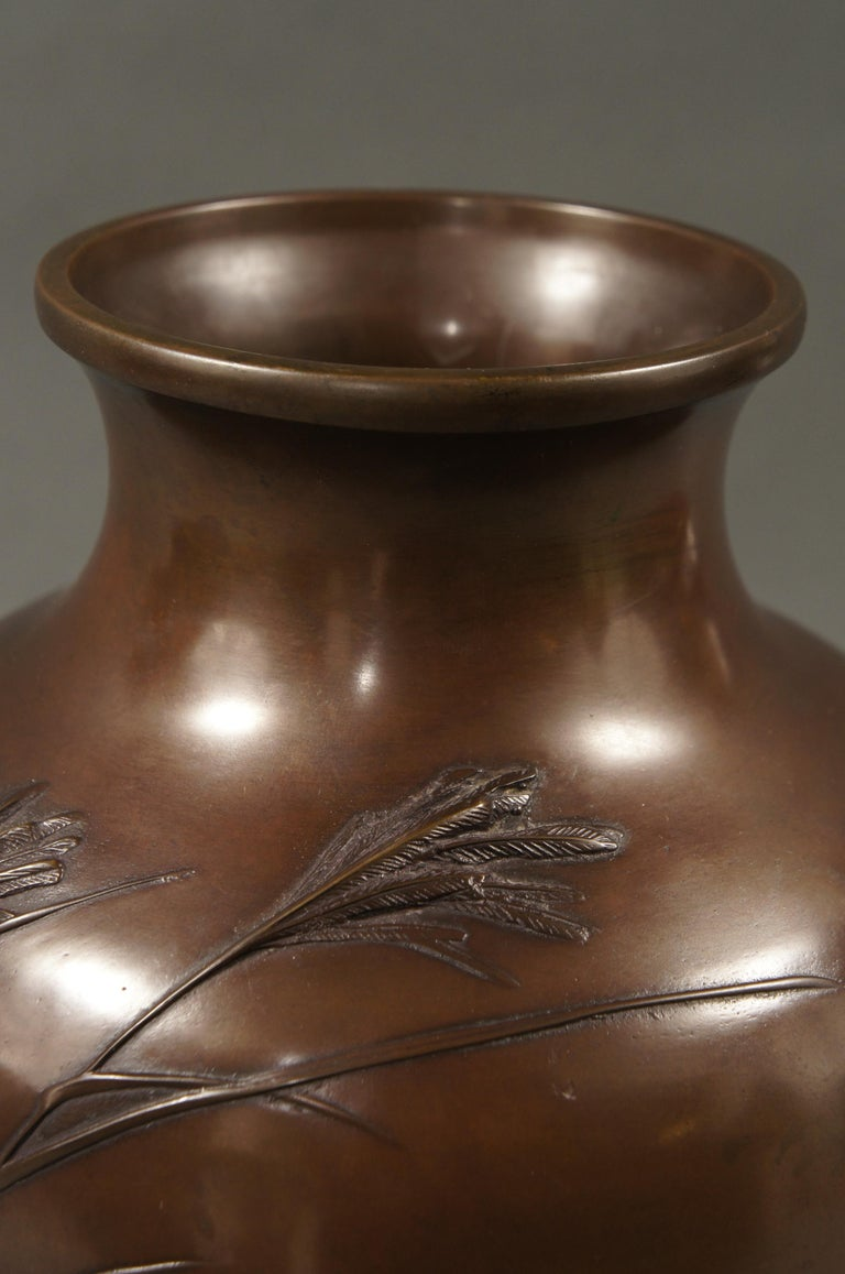 19th Century Meiji Period Japanese Bronze Vase with Grasses and Quail Design For Sale