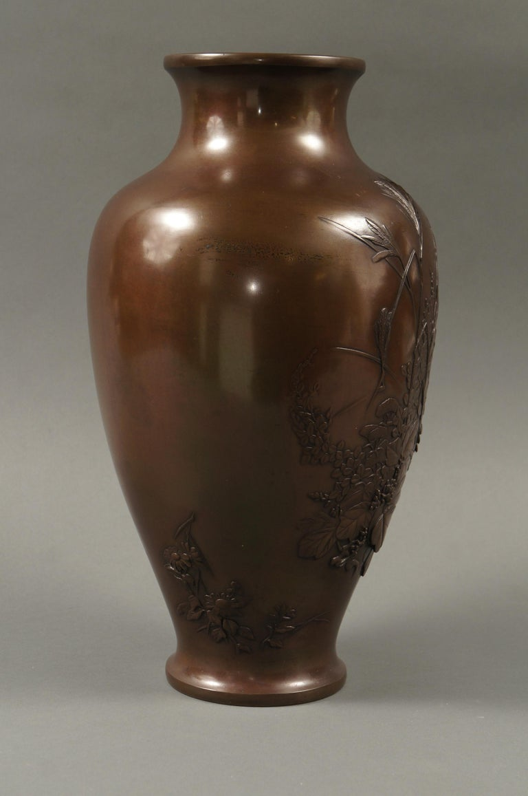 Meiji Period Japanese Bronze Vase with Grasses and Quail Design For Sale 2