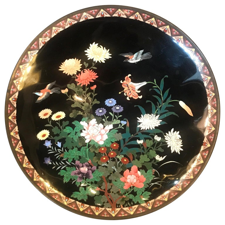 Meiji Period Japanese Cloisonné Charger For Sale