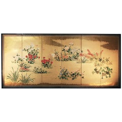 Meiji Period, Japanese Folding Screen Six Panels Painted Rise Paper Gold Leaf