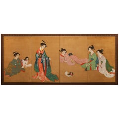 Meiji Period Japanese Four Panel Screen Bijin At Leisure
