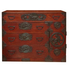 Meiji Period Japanese Isho Tansu Chest from Sendai Area of Japan