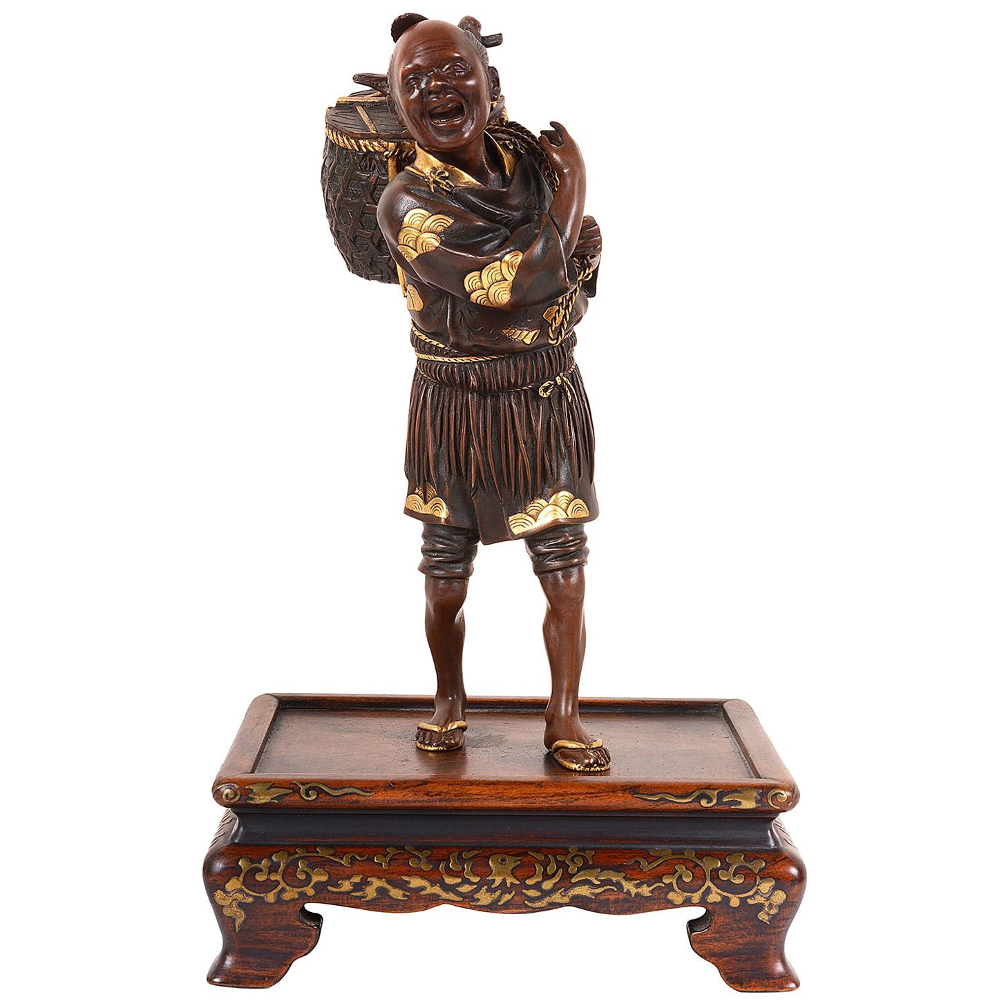 Meiji Period Japanese Miayo Bronze Figure Bird Catcher