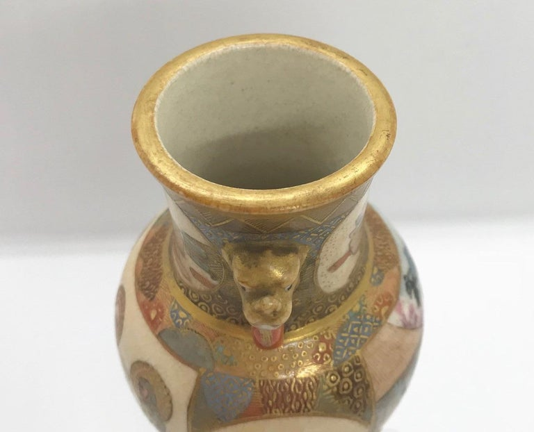 Meiji Period Japanese Miniature Satsuma Vase For Sale 7