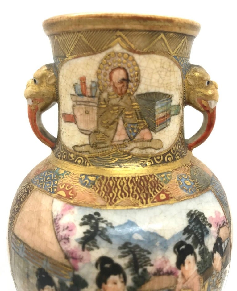 Meiji Period Japanese Miniature Satsuma Vase For Sale 1