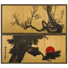 Meiji Period Japanese Pine and Plum Screens by Suzuki Shonen, Ink on Gold Leaf
