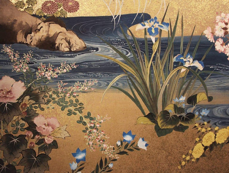 Meiji Period Japanese Two Panel Screen Painted on Rice Paper with Gold Grains In Good Condition For Sale In Brescia, IT