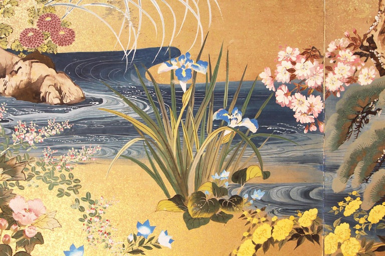 Meiji Period Japanese Two Panel Screen Painted on Rice Paper with Gold Grains For Sale 1