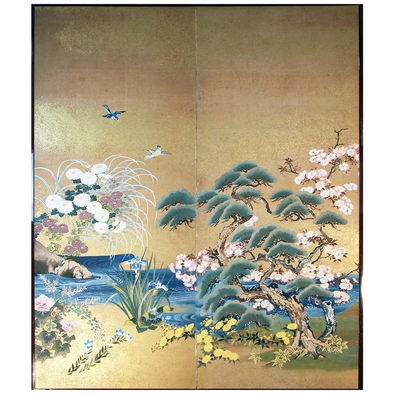 Meiji Period Japanese Two Panel Screen Painted on Rice Paper with Gold Grains For Sale