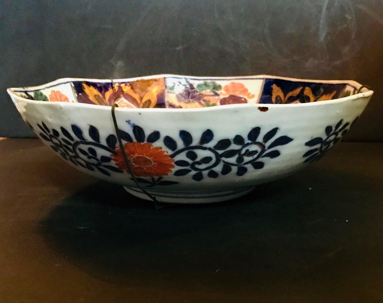 19th Century Meiji Period Large Japanese Imari Bowl Centerpiece For Sale