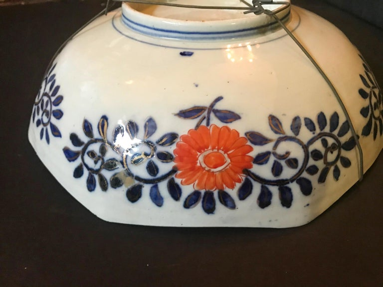 Porcelain Meiji Period Large Japanese Imari Bowl Centerpiece For Sale